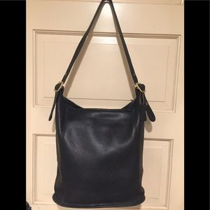 Coach black leather purse vintage shoulder handbag